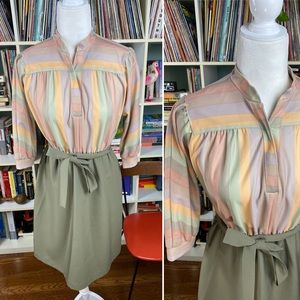 Vintage 80s striped pastel retro dress